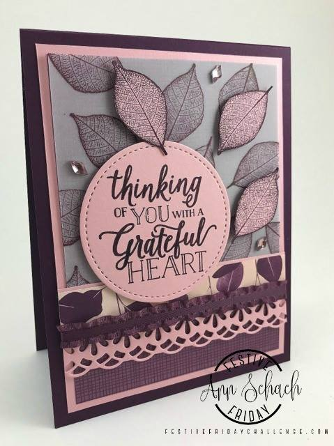 #FF0020, Festive Friday Challenge Designer- Ann Schach, Stampin' Up, thank you