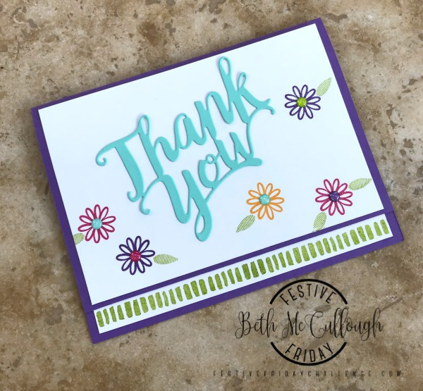 #FF0020, Festive Friday Challenge Designer- Beth McCullough, Stampin' Up, thank you