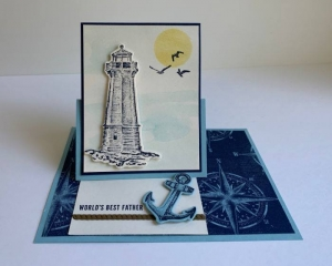 #FF0035, Festive Friday Challenge Designer- Sharon Hashimoto Burkert , Stampin Up, Father's Day, Blue