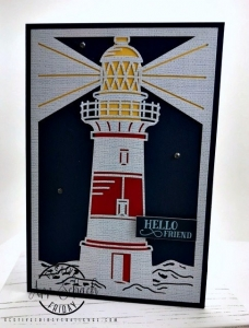 #FF0039, Festive Friday Challenge Designer-Ann Schach, Lighthouse, Light Rays